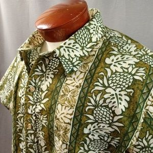 Olive Green Tapa Print Hawaiian Shirt XL Vintage